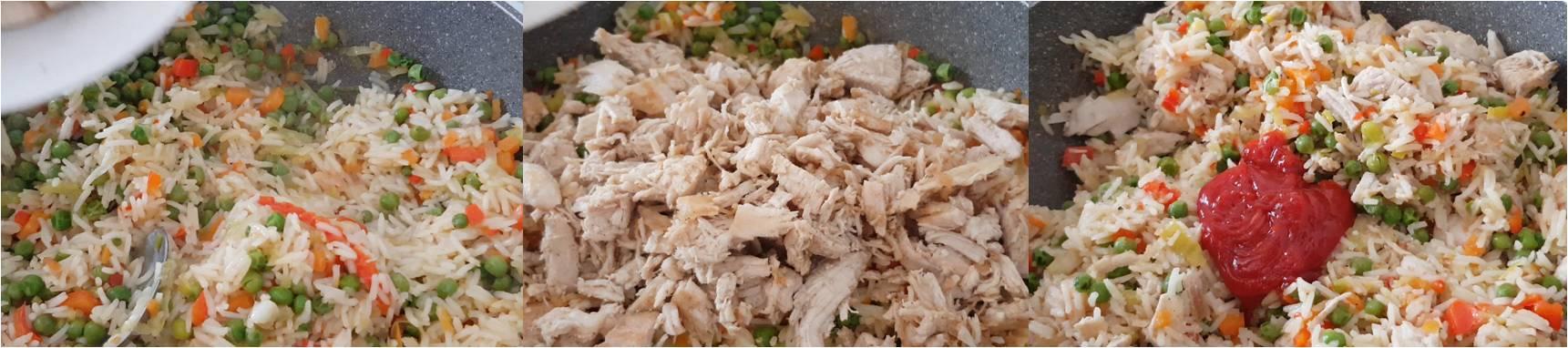 ricetta passo passo riso con pollo 4