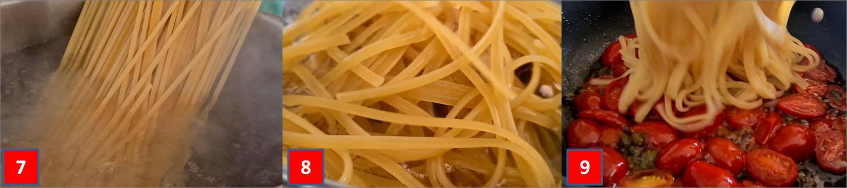 ricetta passo passo tagliolini con datterini e capperi3