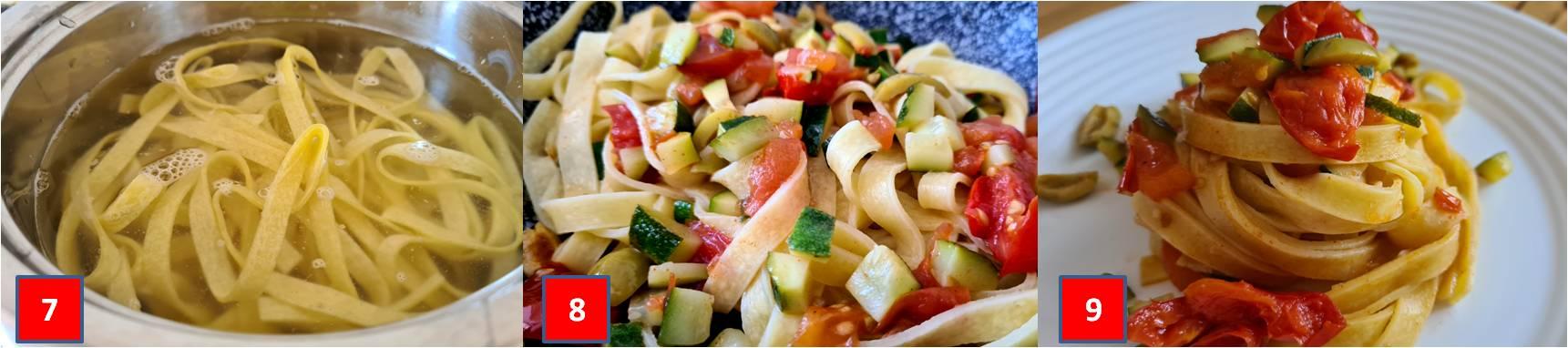 ricetta passo passo tagliatelle con datterino e zucchine 3