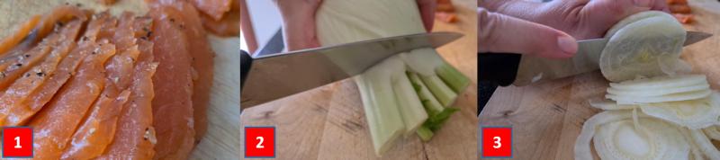 ricetta passo passo salmone marinato con finocchi e agrumi