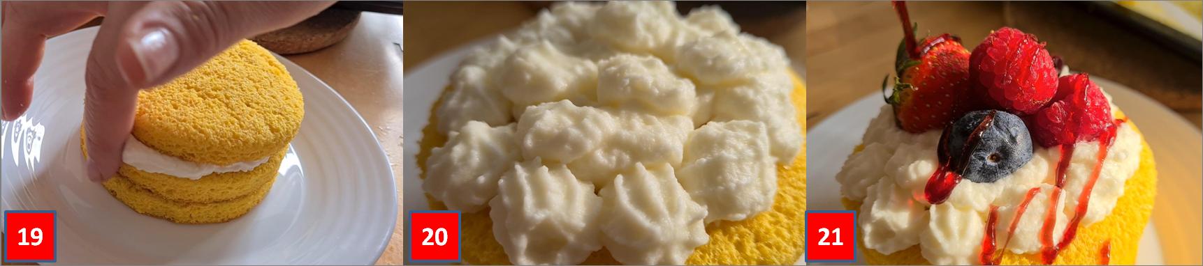 ricetta passo passo minicakes con crema e frutti di bosco
